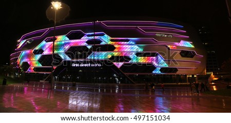 LEEDS, UK - OCTOBER 7 2016: Light show on the Leeds Arena. Leeds is considered the cultural, financial and commercial heart of the West Yorkshire Urban Area