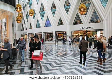 LEEDS, UK - OCTOBER 30, 2016: Shoppers in the new Victoria Gate shopping centre. Victoria Gate is a 165 million pound retail development which opened on 21 October 2016