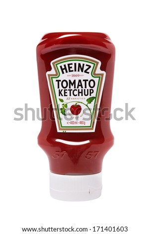 LEEDS, UNITED KINGDOM - July 5th, 2011: Heinz tomato ketchup sauce in plastic squeezable bottle. Studio shot on white
