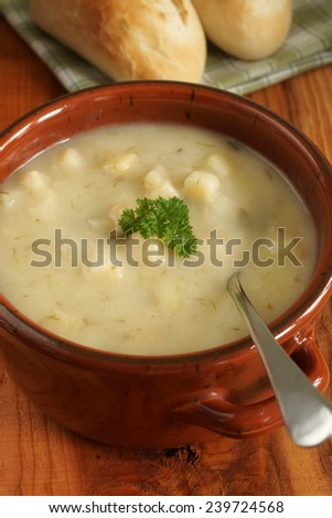 Leek and Potato Soup with bread rolls
