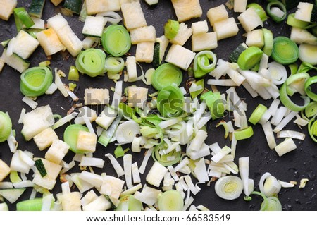 Leek, Celeriac, And Zucchini on Frying Pan - stock photo