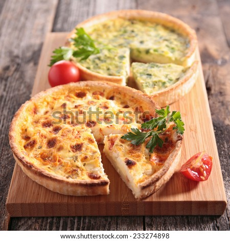 leek quiche and quiche lorraine - stock photo
