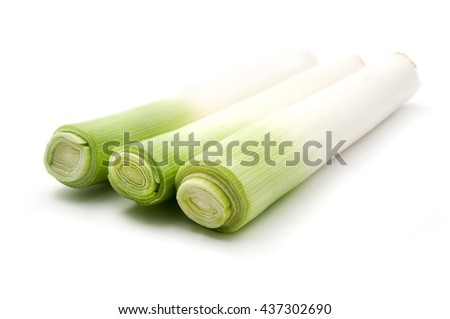 Leek stems on a white background