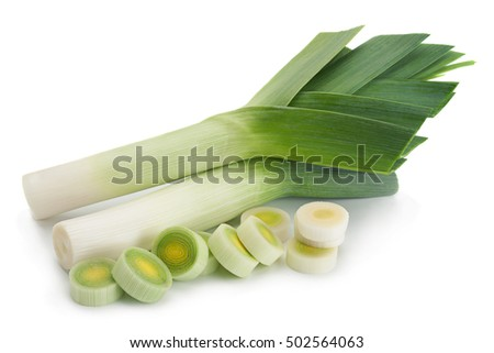 Leek vegetable closeup isolated on white background