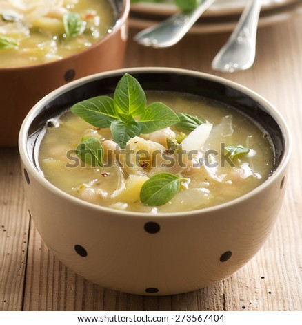 leeks and  beans soup - stock photo