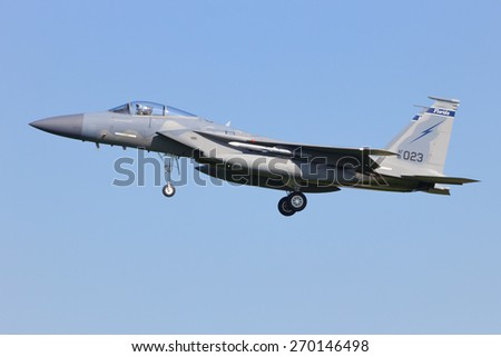 LEEUWARDEN, NETHERLANDS - APRIL 15, 2015: Florida ANG F-15 landing during the exercise Frisian Flag. The exercise is considered one of the most important NATO training events this year. - stock photo