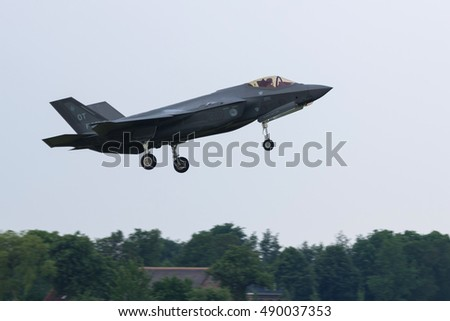 LEEUWARDEN, NETHERLANDS JUN 3th 2016: F-35 Lighting II of the RNLAF landing after an exercise during the very first deployment of F-35 aircraft in Europe.