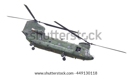 LEEUWARDEN, NETHERLANDS - JUNI 11 2016: Chinook CH-47 military helicopter in action during a demonstration flight on juni 11 , 2016 in Leeuwarden - stock photo