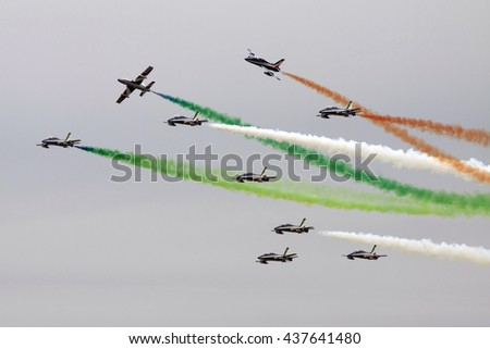 LEEUWARDEN, NETHERLANDS - JUNI 11 2016:Italian Frecce Tricolori air demonstration team in action during the Air Force days on juni 11 ,2016 in Leeuwarden - stock photo