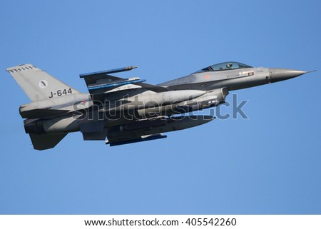 LEEUWARDEN, THE NETHERLANDS - APR 11, 2016: Royal Netherlands Air Force F-16 fighter jet take off during exercise Frisian Flag.