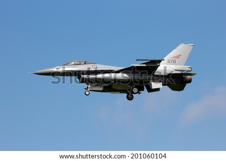 LEEUWARDEN, THE NETHERLANDS - APRIL 20: Norwegian Air Force Lockheed F-16 landing during the exercise Frisian flag 2012. Leeuwarden Airbase April 20, 2012 in Leeuwarden, The Netherlands - stock photo