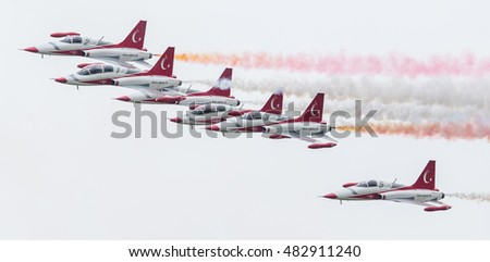 LEEUWARDEN, THE NETHERLANDS - JUNE 10, 2016: Turkish Air Force Demonstration Team Turkish Stars at the Royal Netherlands Air Force Days