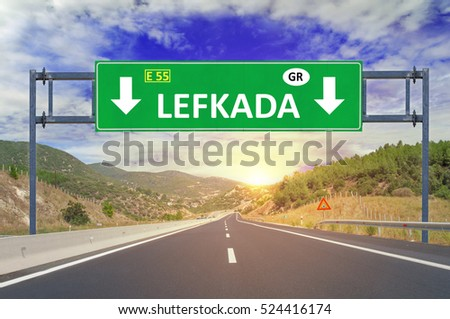 Lefkada road sign on highway