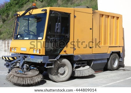 Lefkosia, Cyprus, February 27 2013 - Modern street sweeper cleaner truck - stock photo