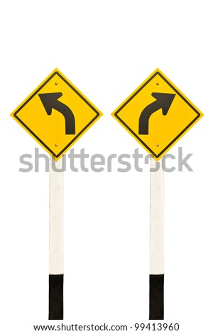 Left and right curved road signpost, isolated on white background - stock photo