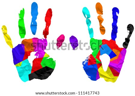 Left and right hand ,Colorful  paint on clumped paper isolated on white background