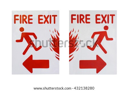 """left and right sign of """"fire exit"""" text - stock photo"""
