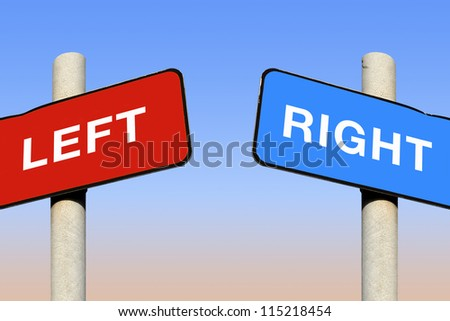 Left and right signs against a blue sky - stock photo