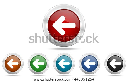 left arrow round glossy icon set, colored circle metallic design internet buttons