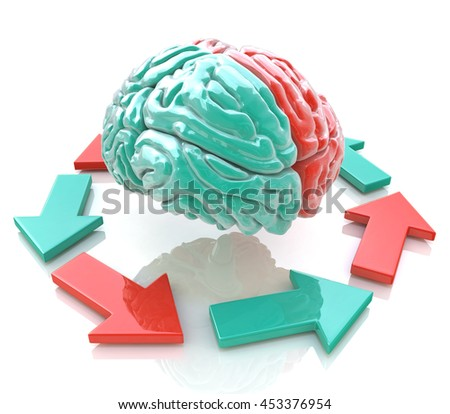 Left Brain, Right Brain. Concept. Human brain hemispheres in the design of information related to the work of the brain. 3d illustration - stock photo