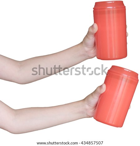 Left child hand with red plastic bank (bottle) isolated on white