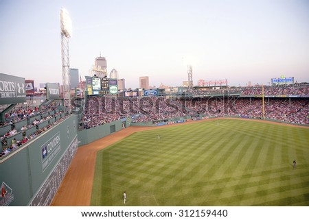 "Left field ""Monster Wall"" where Boston Red Sox defeat Minnesota Twins 6 to 2 as 38,144 attend May 20, 2010 Major League baseball game at Fenway Park, Boston, MA., USA - stock photo"