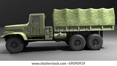 Left flank of military truck