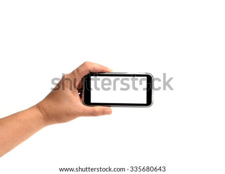 left hand holding cell phone isolated on white