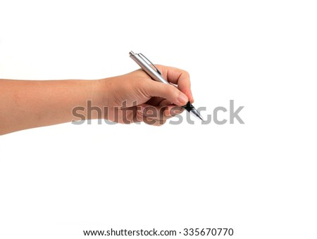 left hand holding pen isolated on white