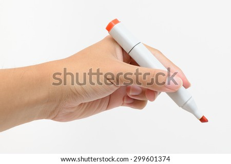 Left hand holding red marker for writing isolated on white background