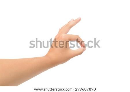 Left hand OK sign isolated on white background - stock photo
