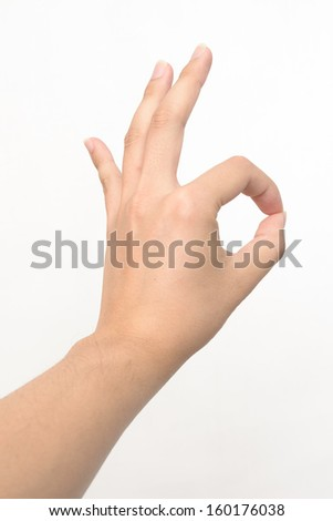 Left hand showing perfect or OK sign on white