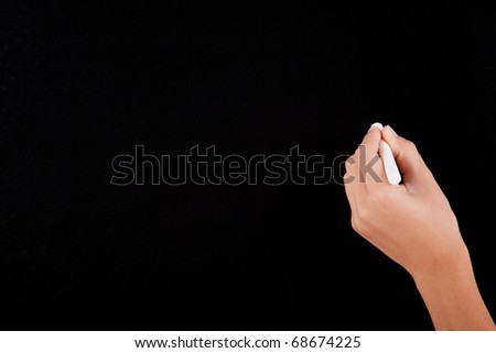 Left Hand writing on a blackboard in white