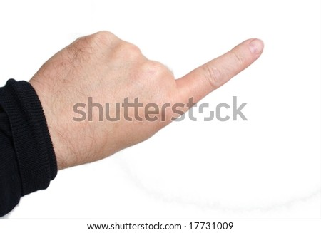 Left index finger pointing; middle-aged skin type (around 50); white background