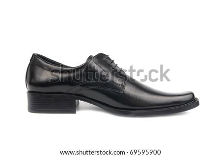 Left man's black shoe isolated on white background - stock photo