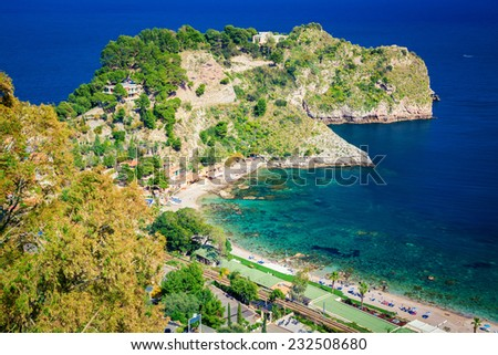 left side of the beach named Isola Bella, Taormina, Sicily - stock photo