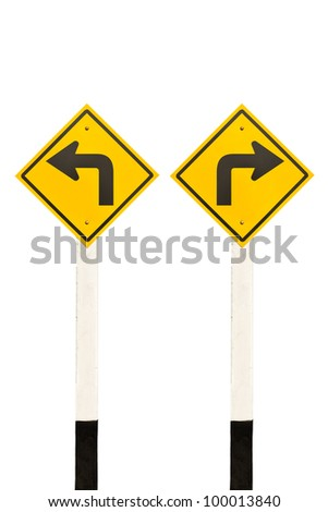 Left turn and right turn road signpost, isolated on white background - stock photo