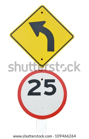 left turn and speed limit road sign on white background - traffic signs - stock photo