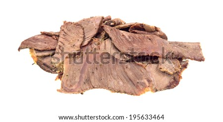 Leftover chuck roast sliced thin on a white background. - stock photo