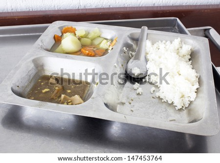 Leftover food in aluminum  tray . - stock photo
