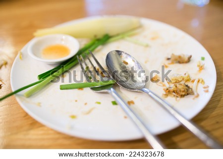Leftover plate after meal - stock photo