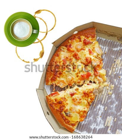 leftovers of pizza in a takeaway box and coffee isolated on white background - stock photo