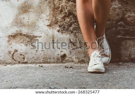 leg girl with white shoes : film texture in vintage style