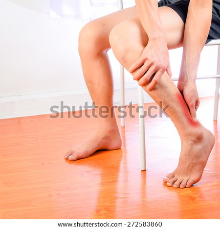 Leg muscle pain,Calf pain - stock photo