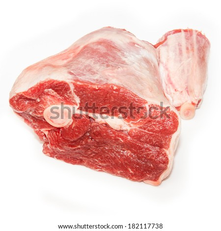 Leg of lamb isolated on a white studio background.