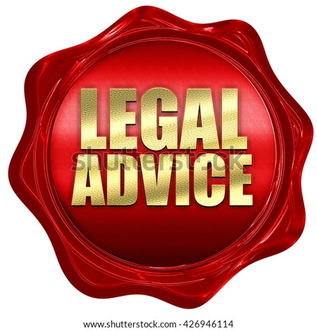 legal advice, 3D rendering, a red wax seal - stock photo