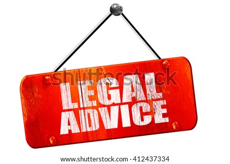 legal advice, 3D rendering, vintage old red sign - stock photo