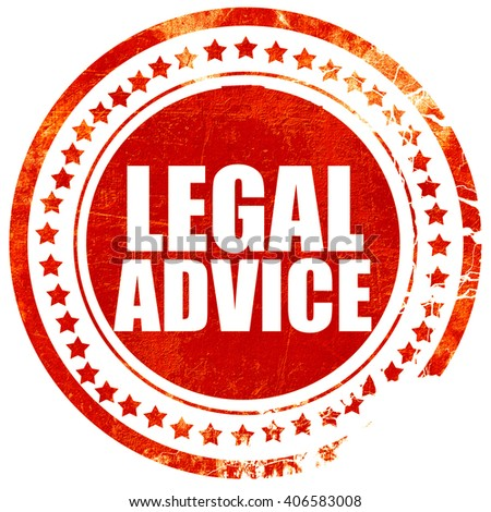 legal advice, grunge red rubber stamp with rough lines and edges - stock photo