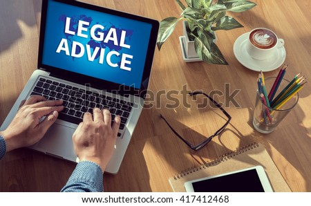 LEGAL ADVICE (Legal Advice Compliance Consulation Expertise Help) man hand on table Business, coffee, Split tone - stock photo