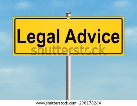 Legal advice. Road sign on the sky background. Raster illustration. - stock photo